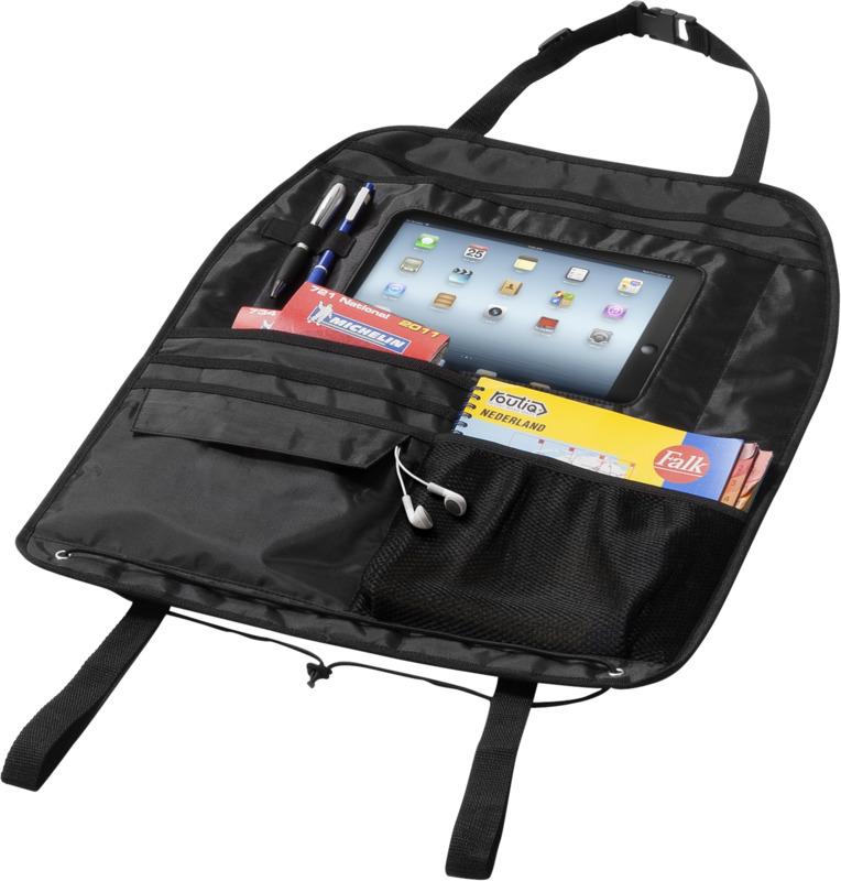 Organizador respaldo asiento compartimento Ipad. Regalos promocionales y reclamos publicitarios