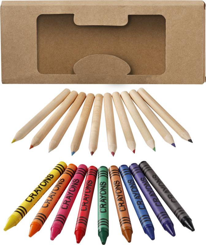 Set 19 lápices/ ceras. Regalos promocionales y reclamos publicitarios