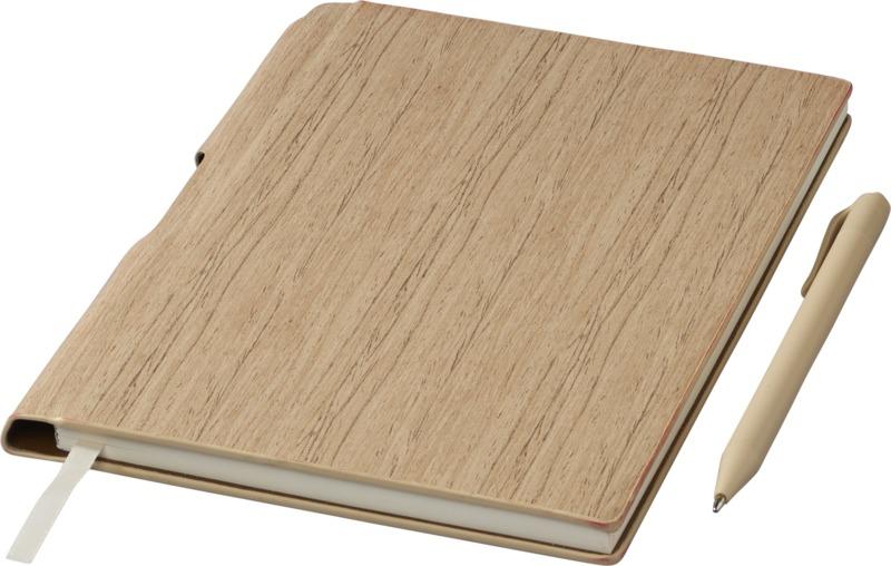 Libreta madera A5/ bolígrafo . Regalos promocionales y reclamos publicitarios