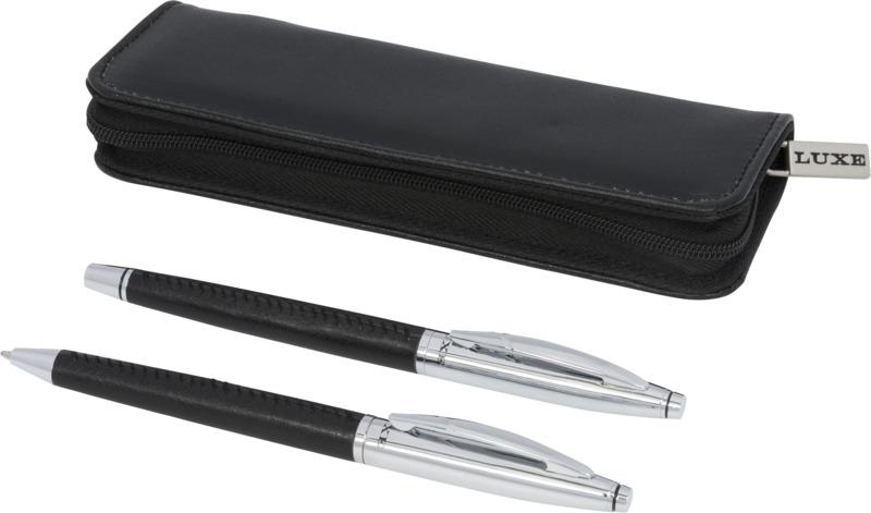 Set bolígrafo/ rollerbal  acabados piel/ estuche. Regalos promocionales y reclamos publicitarios