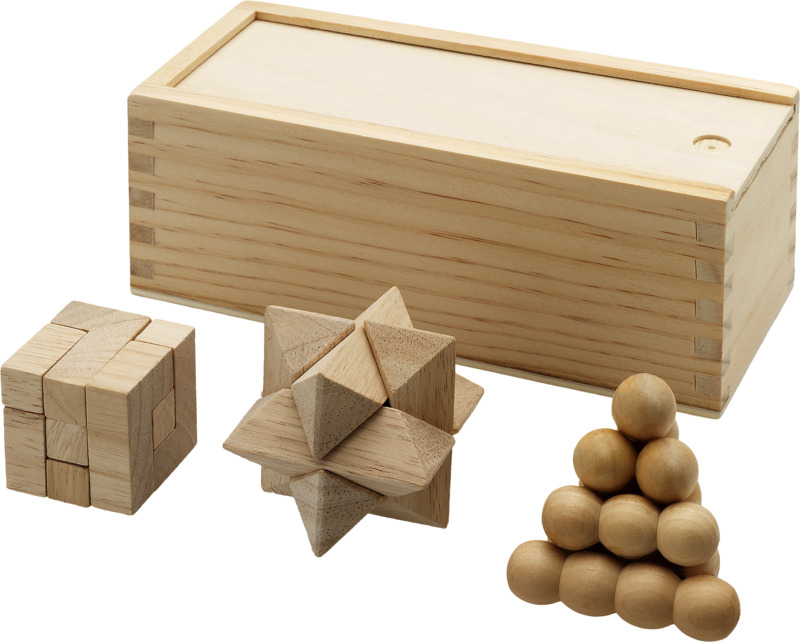 3 juegos ingenio en madera . Regalos promocionales y reclamos publicitarios