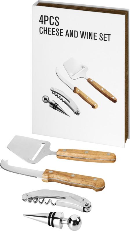 Set regalo quesos/ vino 4 piezas. Regalos promocionales y reclamos publicitarios