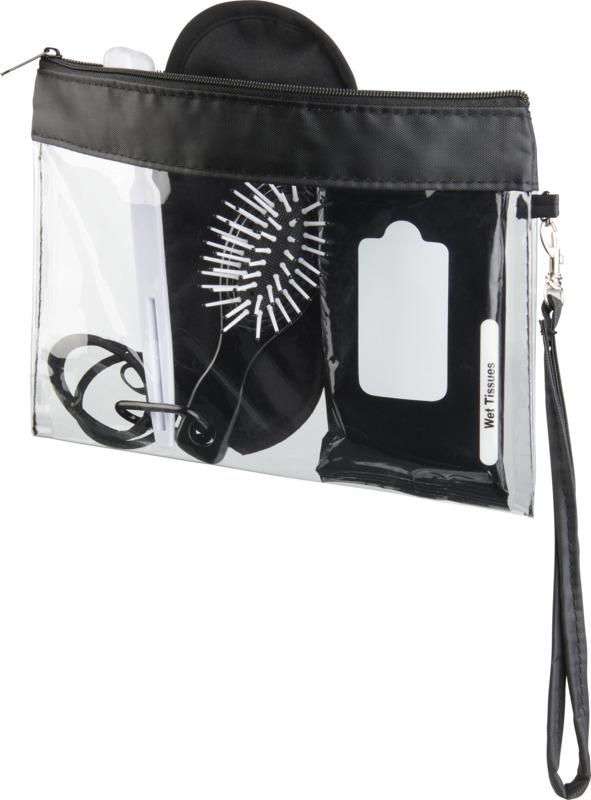 Pequeña bolsa viaje transparente. Regalos promocionales y reclamos publicitarios