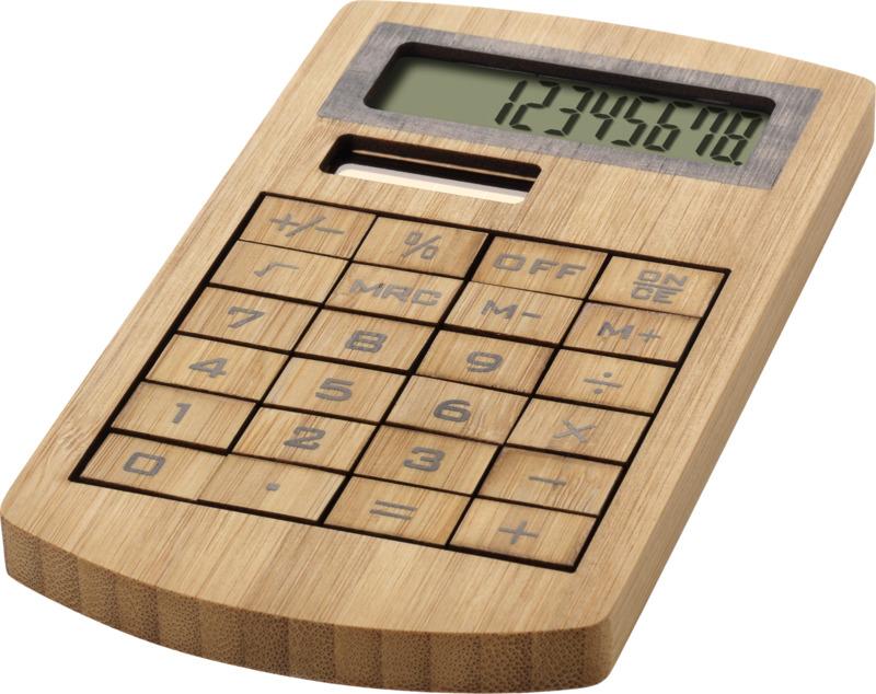 Calculadora bambú. Regalos promocionales y reclamos publicitarios