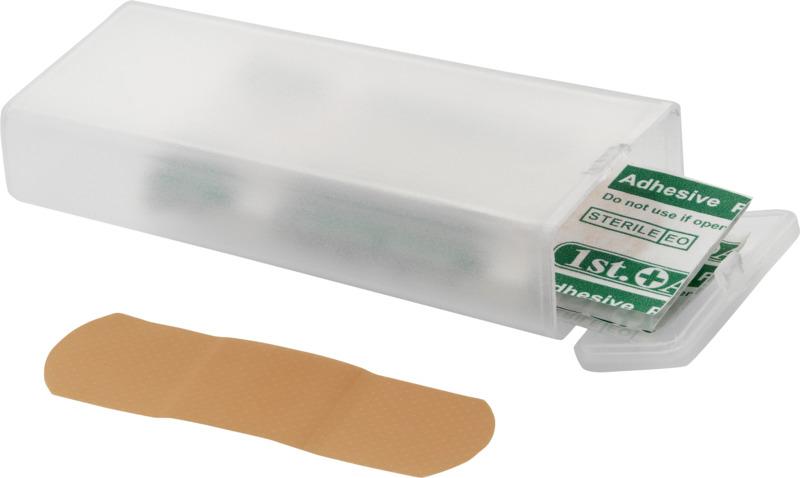 Caja 5 apósitos adhesivos. Regalos promocionales y reclamos publicitarios