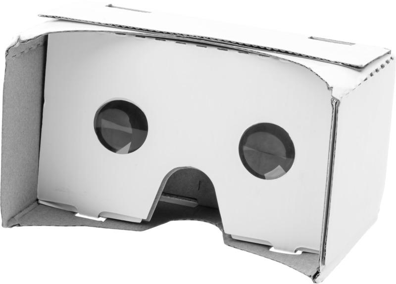 Gafas realidad virtual cartón . Regalos promocionales y reclamos publicitarios
