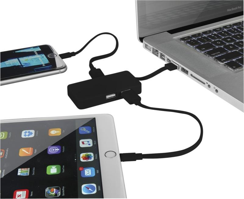 Puerto USB doble cable . Regalos promocionales y reclamos publicitarios